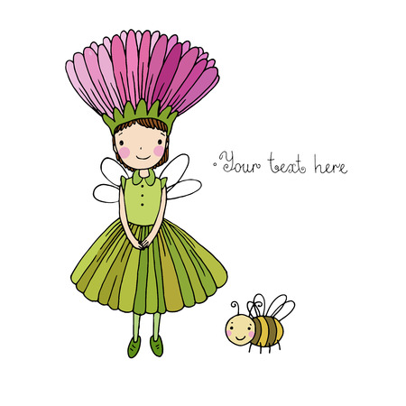Cute little fairy and bumblebee.Hand drawn vector illustration.