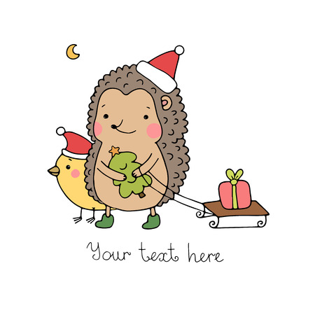 A hedgehog, a bird, a gift and a Christmas tree. Hand drawn vector illustration.