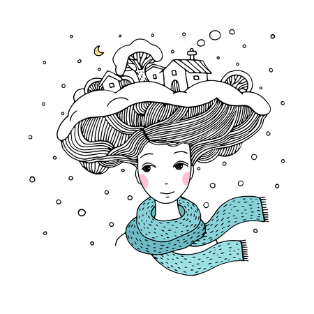 interesting: Young beautiful woman with an interesting hairstyle. Winter city.Hand drawn vector illustration.