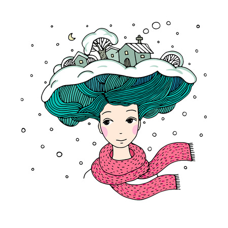 is interesting: Young beautiful woman with an interesting hairstyle. Winter city.Hand drawn vector illustration.