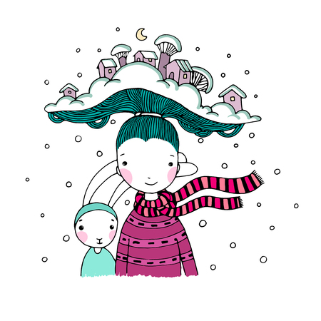 naughty girl: A young beautiful girl with interesting hat and her friend hare. Winter Village. Hand drawn vector illustration. Illustration