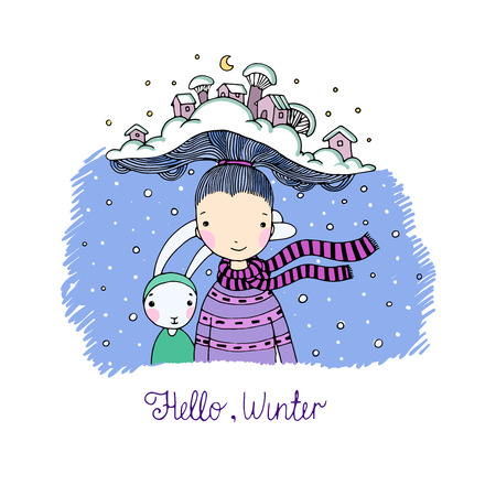 interesting: A young beautiful girl with interesting hat and her friend hare. Winter Village. Hand drawn vector illustration. Illustration