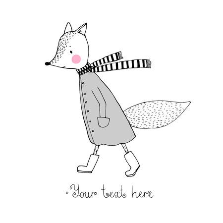 Sad fox walking in the rain. Hand drawing. Vector illustration