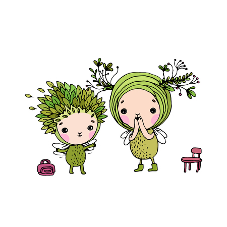 exquisite fairy: Two little cartoon fairies. Hand drawing isolated objects on white background. Vector illustration.