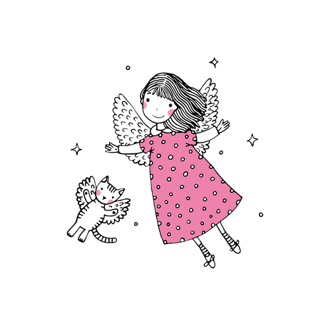 angel cat: Cartoon angel and cat. Hand drawing isolated objects on white background. Vector illustration.