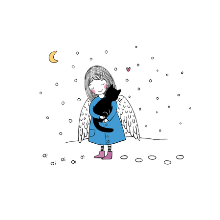 angel alone: Angel and black cat. Hand drawing isolated objects on white background. Vector illustration.