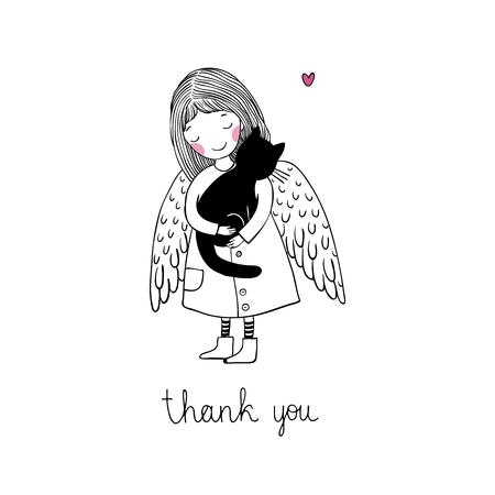 Engel en zwarte kat. geïsoleerd Hand tekening objecten op een witte achtergrond. Vector illustratie.