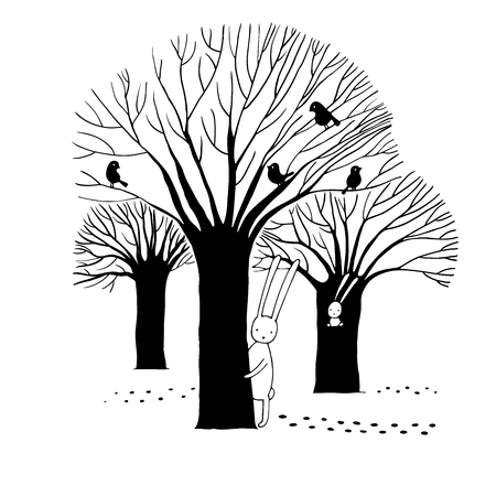 cartoon hare: Beautiful trees, birds and rabbit. Winter.Hand drawn vector illustration on a white background.