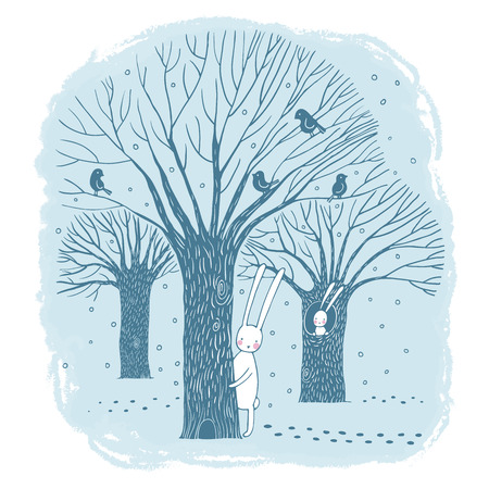 美しい木、鳥、ウサギ。白い背景の上に描画 Winter.Hand ベクトル イラスト。  イラスト・ベクター素材