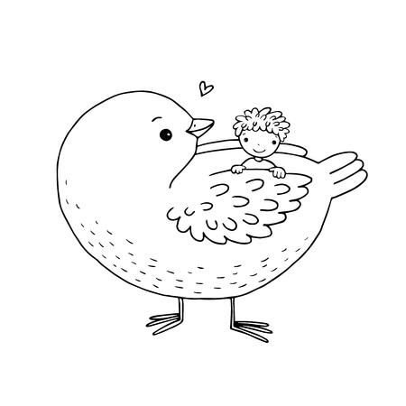 Twee Leuke Baby En Een Vogel Geisoleerd Hand Tekening Objecten Op