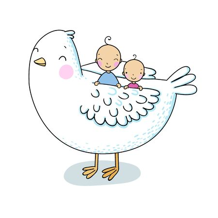 Two cute baby and a bird. Hand drawing isolated objects on white background. Vector illustration. Coloring book. Stock Illustratie