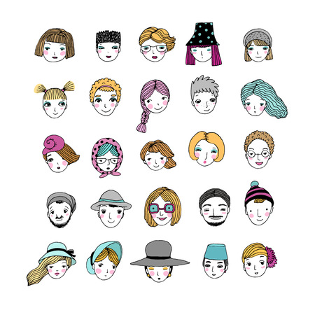 Different faces. Hand drawing isolated objects on white background. Vector illustration. Vettoriali