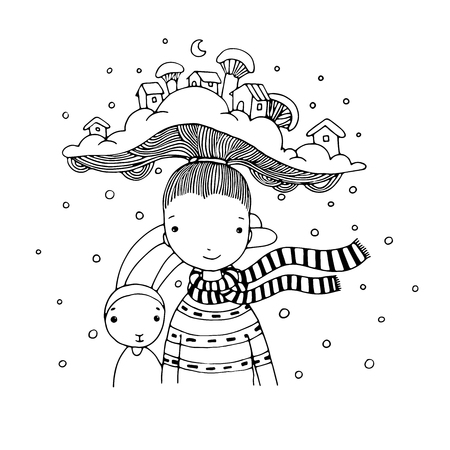 interesting: Young beautiful girl with interesting hat. Winter Village. Hand drawn vector illustration. Coloring book.