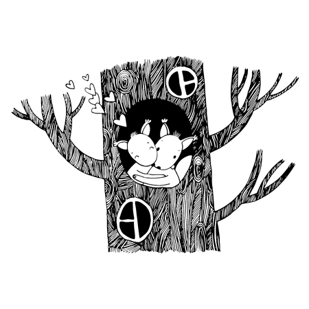 winter tree: Lovers squirrel. Big beautiful tree. Winter. Hand drawing isolated objects on white background. Vector illustration.