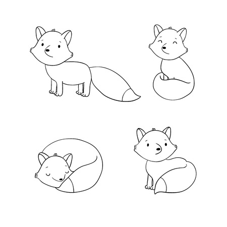 defenseless: Set of cute little fox. Hand drawing isolated objects on white background. Vector illustration.