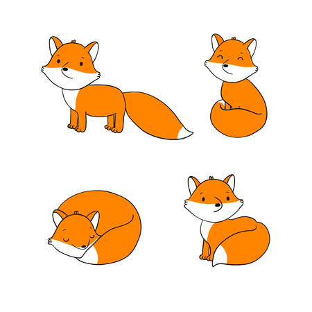 clever: Set of cute little fox. Hand drawing isolated objects on white background. Vector illustration.