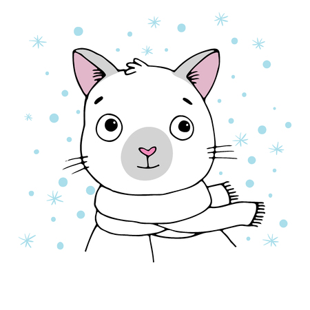 siamese cat: Portrait of a Siamese cat. Winter. Hand drawing isolated objects on white background. Vector illustration. Illustration