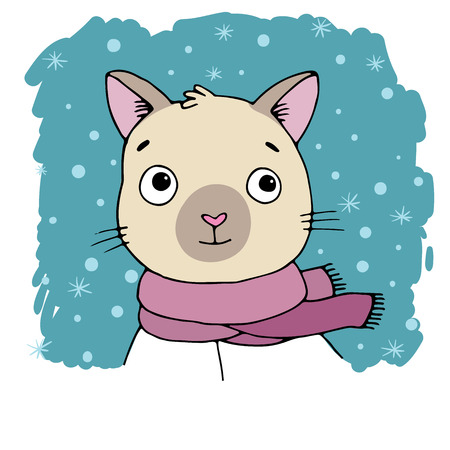 siamese: Portrait of a Siamese cat. Winter. Hand drawing isolated objects on white background. Vector illustration. Illustration
