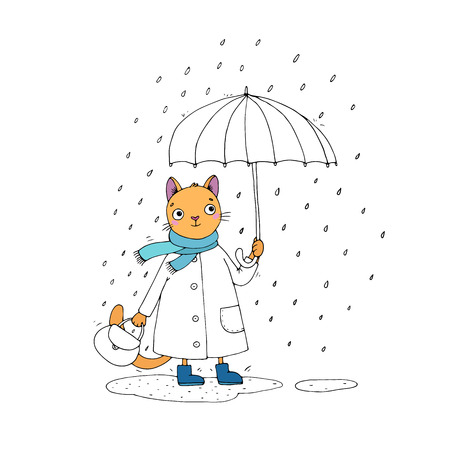 puddles: Cute cartoon cat, umbrella, rain and puddles. Hand drawing isolated objects on white background. Vector illustration. Illustration