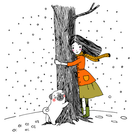 hide and seek: Beautiful young girl and a cute pug on a white background. Hand drawn vector.