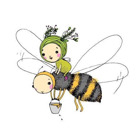 妖精と白地に蜂。手描きの背景。
