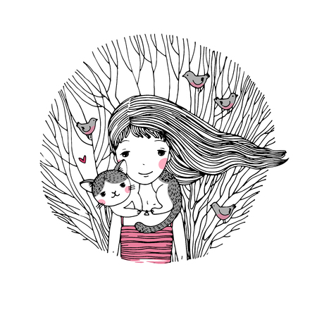 hide and seek: Beautiful young girl and a cute cat on a white background. Hand drawn vector