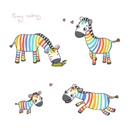 cute cartoon: Funny cartoon zebras on white background. Rainbow