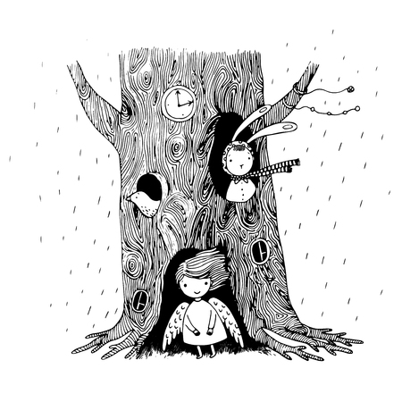 burrow: The tree, angel, hollow, watch, bunny and bird on a white background. Hand drawn vector illustration.