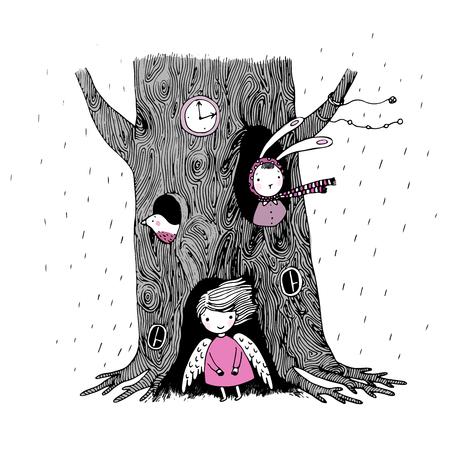 L'albero, angelo, cavo, orologio, coniglio e uccelli su uno sfondo bianco. disegnata a mano illustrazione vettoriale.