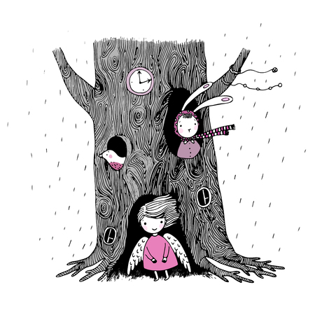snow white: The tree, angel, hollow, watch, bunny and bird on a white background. Hand drawn vector illustration.