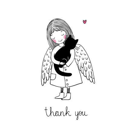 angel alone: Angel and black cat on a white background. Hand drawn vector illustration.