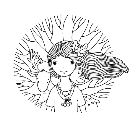 Young beautiful girl fairy, deer, bird and tree. Hand drawn vector illustration on a white background.