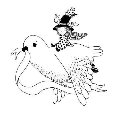 one of a kind: The story of the dove, fairy girl, rabbit and a hat. Hand drawn vector. Illustration