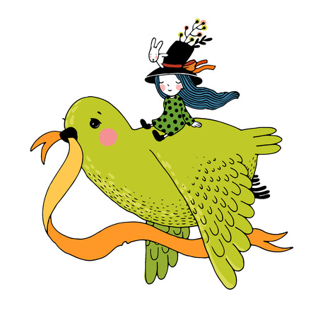 The story of the dove, fairy girl, rabbit and a hat. Hand drawn vector. 일러스트