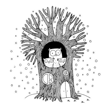 Hermoso árbol y la familia de búhos. Invierno. Dibujo a mano aislado objetos sobre fondo blanco. Ilustración del vector.
