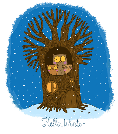 Beautiful tree and family of owls. Winter. Hand drawing isolated objects on white background. Vector illustration. Stock Illustratie