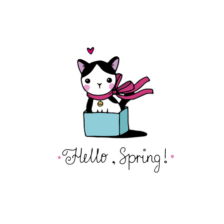 Cute little spotted cat in the box. Hello, Spring text. Hand drawing isolated objects on white background. Vector illustration.
