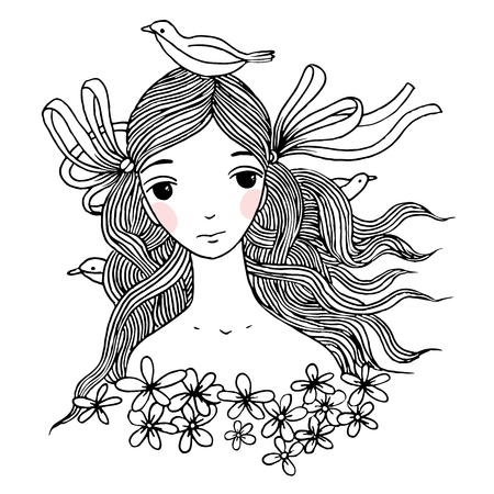 hide and seek: Beautiful young girl with birds. Hand drawing isolated objects on white background. Vector illustration.