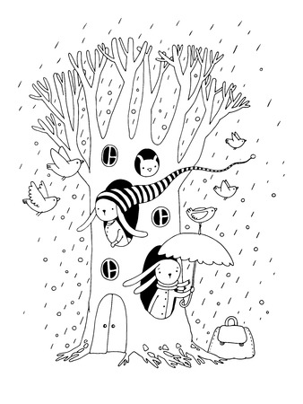 hide and seek: Magic Tree, rabbits and birds.Animals of the forest. Hand drawing isolated objects on white background. Vector illustration. Illustration