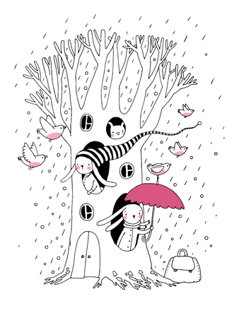 Magic Tree, rabbits and birds.Animals of the forest. Hand drawing isolated objects on white background. Vector illustration. Illustration
