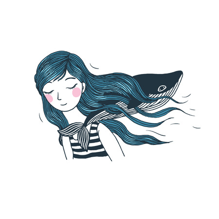 cheek: Beautiful young girl with a whale. Hand drawing isolated objects on white background. Vector illustration.