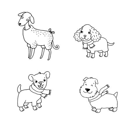 cocker spaniel: Cute cartoon dogs in winter clothes. Italian Greyhound, Cocker Spaniel, Terrier. Hand drawing isolated objects on white background. Vector illustration.