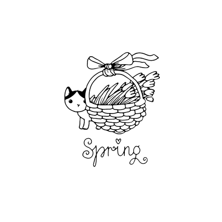 defenseless: Cute little spotted cat. Flowers in a basket. Spring text. Hand drawing isolated objects on white background. Vector illustration. Illustration