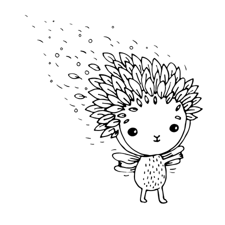 exquisite fairy: Cute little fairy. Hand drawn vector on a white background. Coloring book.