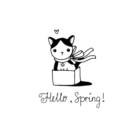 hide and seek: Cute little spotted cat in the box. Hello, Spring text. Hand drawing isolated objects on white background. Vector illustration.
