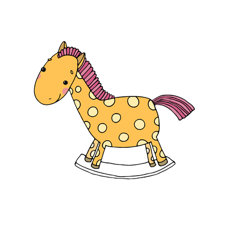 Horse Kids toys. Hand drawn vector illustration on a white background. Illustration
