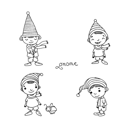 gnomos: A set of cute little gnomes. Hand drawing isolated objects on white background. Vector illustration.