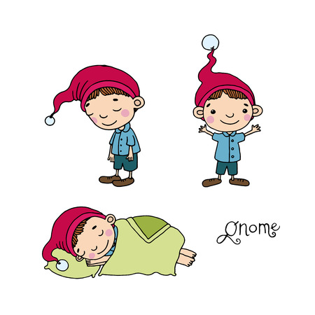 midget: A set of cute little gnomes. Hand drawing isolated objects on white background. Vector illustration.