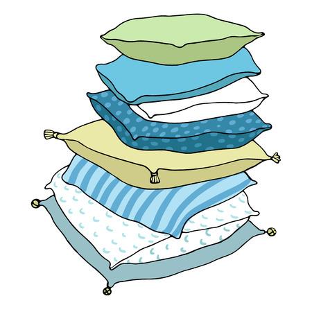 Hermosas almohadas en un fondo blanco. Cojines. Dibujo a mano aislado objetos sobre fondo blanco. Ilustración del vector.