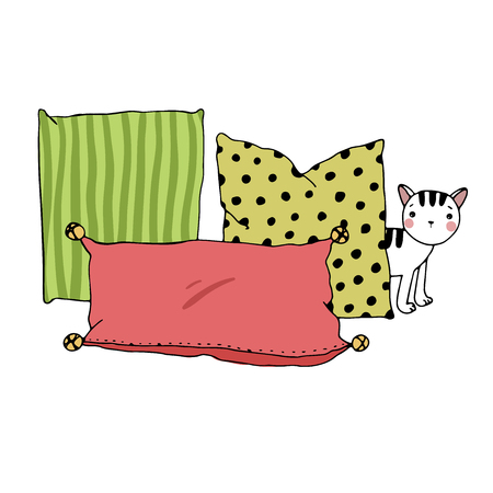 cushions: Beautiful pillows and cat on a white background. Cushions. Hand drawing isolated objects on white background. Vector illustration.